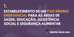 Card com o texto: 1. Estabelecimento de um Piso Mínimo Emergencial para as áreas de educação, assistência social, saúde e segurança alimentar