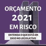 """Card roxo com foto do Congresso Nacional sobreposta contém o seguinte texto: """"Orçamento 2021 em risco. Entenda o que está em jogo no legislativo""""."""